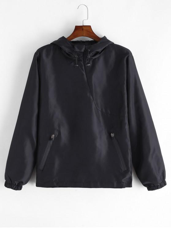 lady Solid Color Zip Hem Spliced Hoodie - BLACK XS