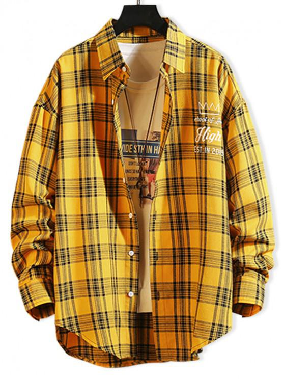 shops Letter Pattern Button Full Sleeves Shirt - BRIGHT YELLOW XL
