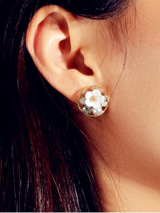 Pendientes de salida hueco perla floral - Oro