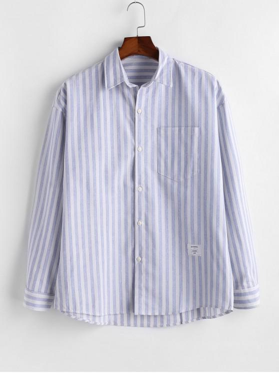 lady Striped Pocket Button Long Sleeve Shirt - BLUE M