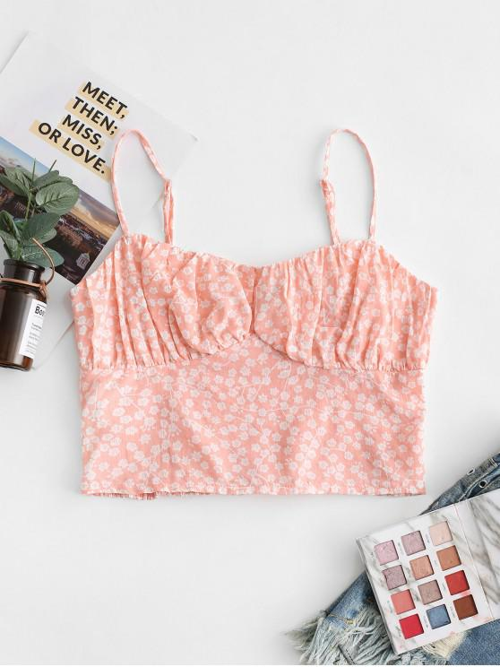 chic Tiny Floral Smocked Back Cami Top - PINK L
