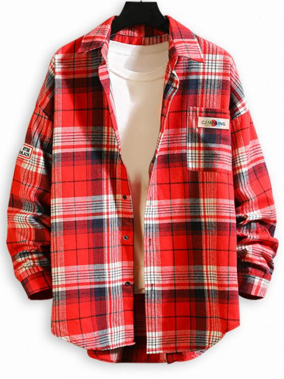 shop Letter Plaid Pattern Full Sleeves Shirt - RED 3XL
