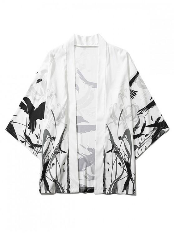 outfit Bird Plant Feather Graphic Print Open Front Kimono Cardigan - WHITE M