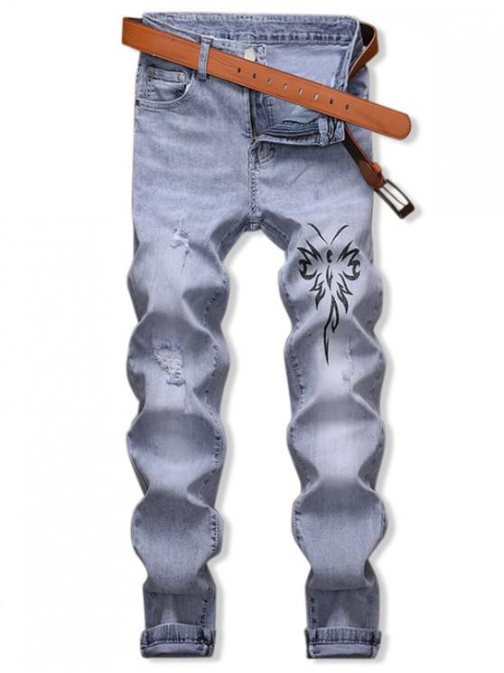 women Butterfly Graphic Distressed Pencil Jeans - JEANS BLUE 32