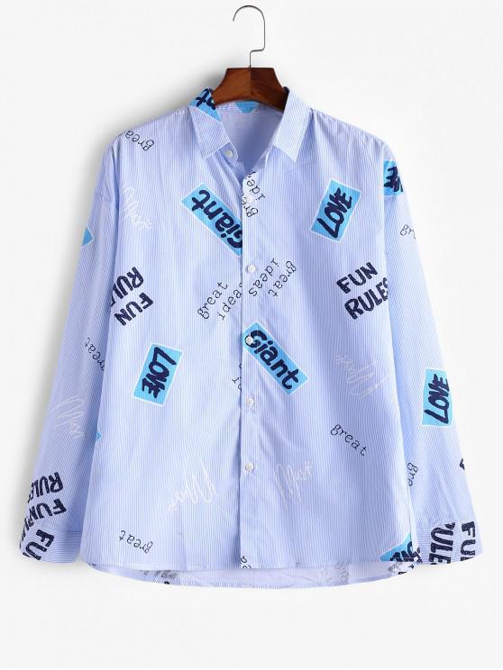 fashion Letter Graphic Pinstripes Button Casual Shirt - BLUE XL