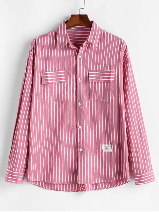 lady Striped Flap Chest Pocket Button Shirt - RED XL
