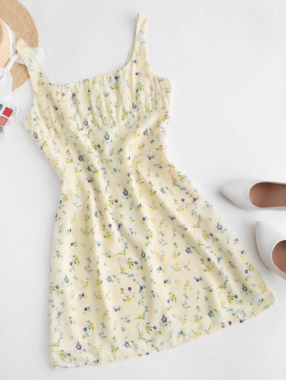 hot Tiny Floral Sleeveless A Line Dress - YELLOW L