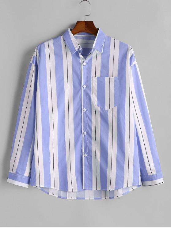 buy Contrast Striped Chest Pocket Button Shirt - BLUE L