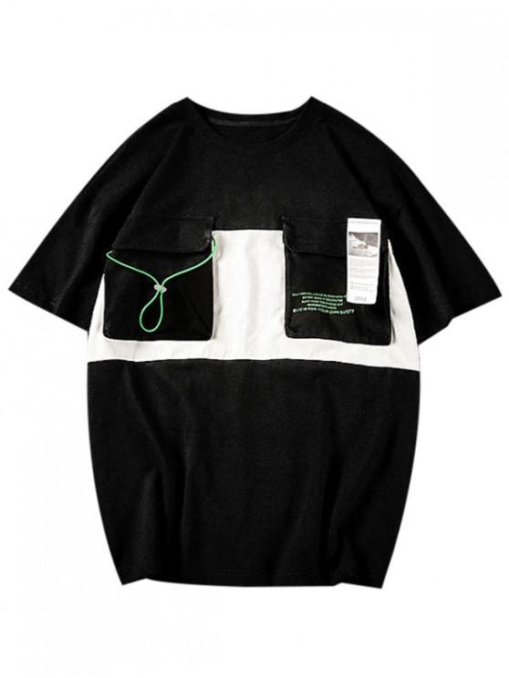 latest Letter Pattern Pocket Casual T-shirt - BLACK L