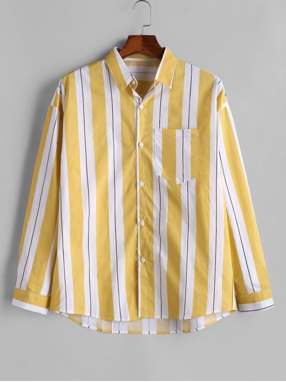 online Contrast Striped Chest Pocket Button Shirt - YELLOW XL
