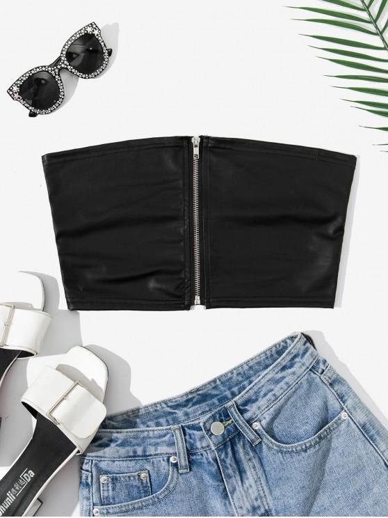 chic Front Zip Crop Tube Top - BLACK L