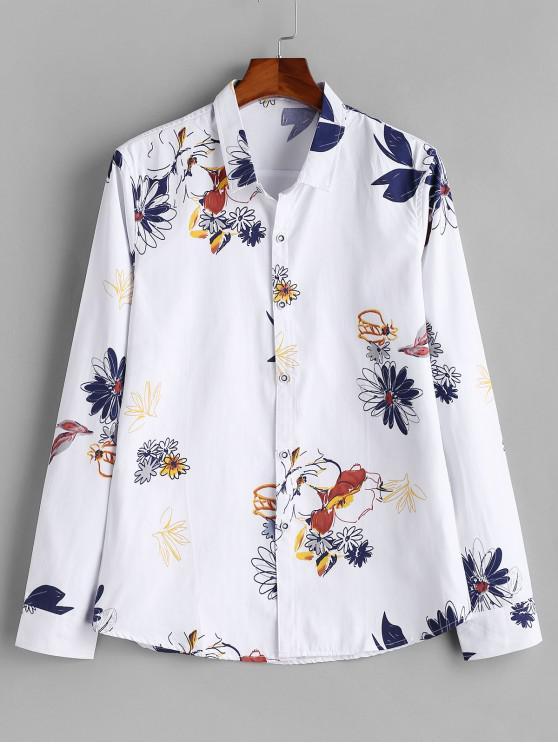 new Long Sleeve Flower Paint Button Shirt - WHITE S