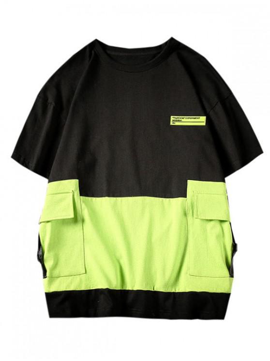 shop Leisure Letter Pattern Color Spliced T-shirt - BLACK L