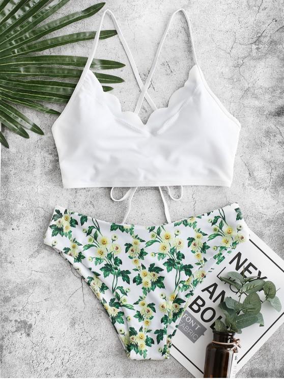 ZAFUL Daisy Stampa smerlato Lace-up Tankini Swimsuit - Bianco 2XL