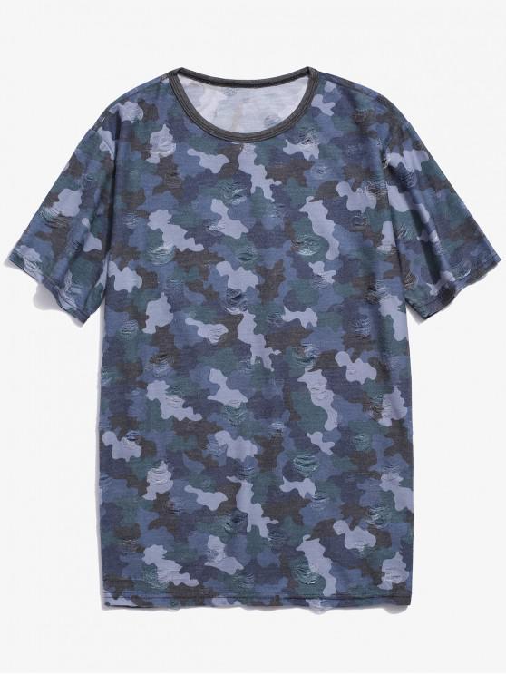 best Camouflage Print Ripped Short Sleeve T-shirt - BLUE XL