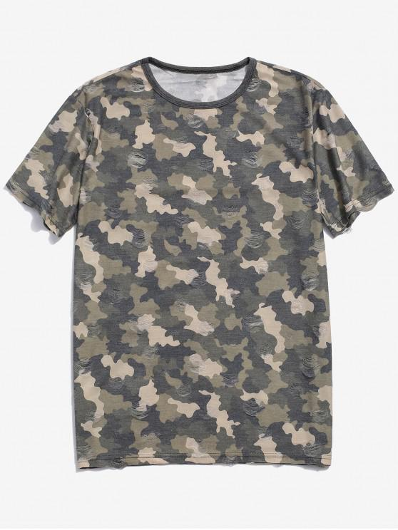 fancy Camouflage Print Ripped Short Sleeve T-shirt - GREEN M