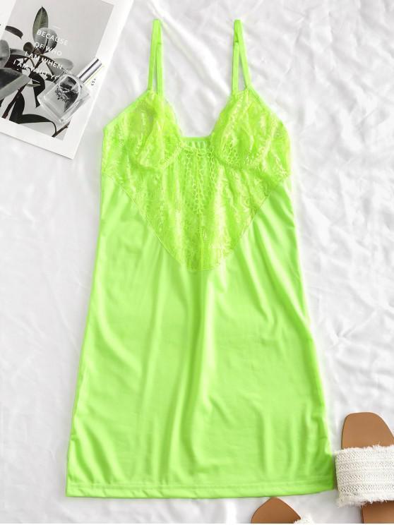 buy Lace Panel See Thru Cami Night Dress - GREEN M
