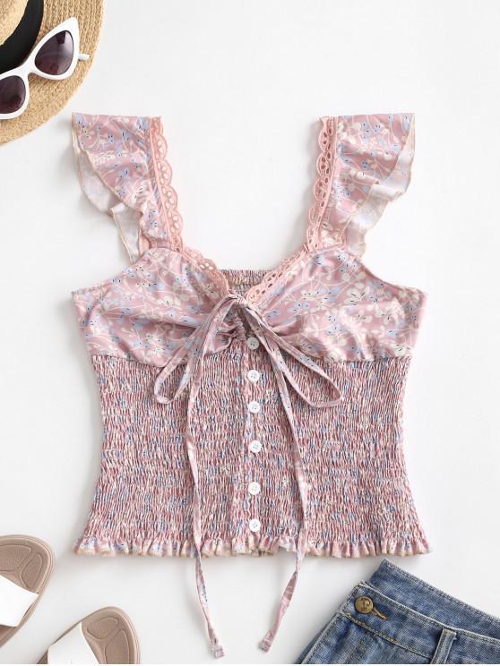 ladies Tie Collar Button Loop Ditsy Floral Smocked Tank Top - PINK ROSE M