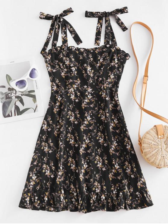 women Tiny Floral Smocked Back Tie Straps Dress - BLACK M