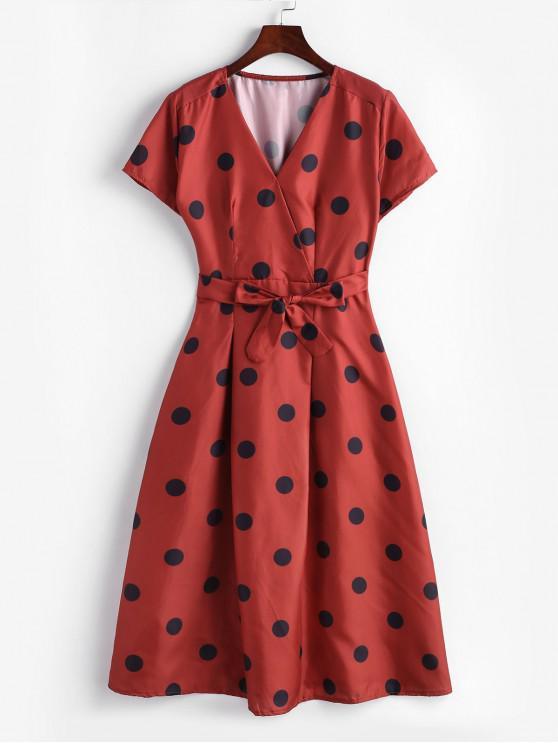 shop Polka Dot Belted V Neck Dress - RED L