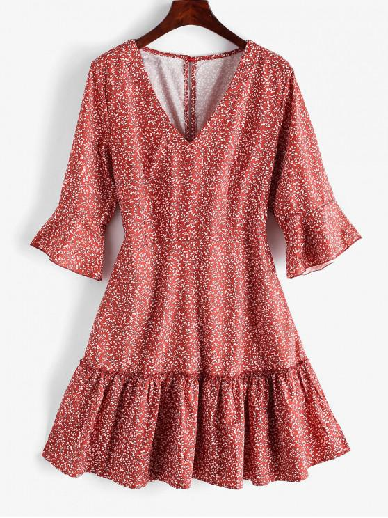 outfits Tiny Floral V Neck Ruffles Dress - RED S