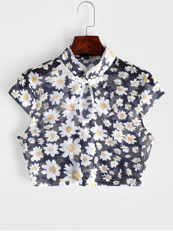 shops ZAFUL Frog Button Floral Mesh Keyhole Tee - CADETBLUE XL