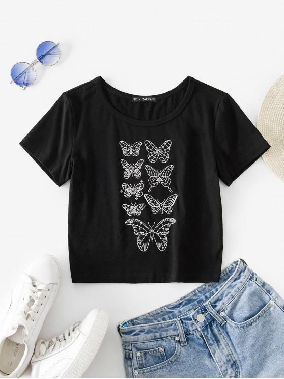 unique ZAFUL Butterfly Pattern Short Sleeve T-shirt - BLACK XL