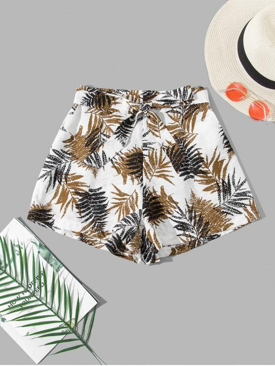 hot ZAFUL Leaf Print Belted Pocket Wide Leg Shorts - WHITE M