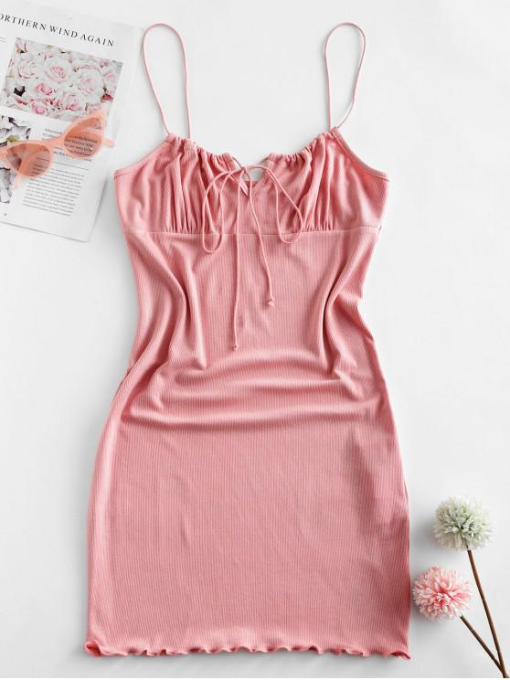 outfit ZAFUL Ribbed Lettuce Tie Cami Mini Dress - PINK S