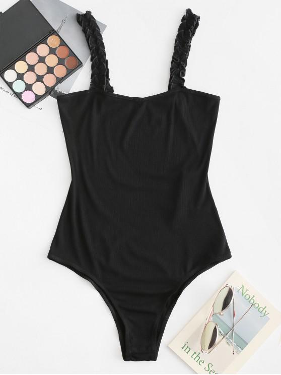 hot ZAFUL Ruffled Straps High Cut Solid Bodysuit - BLACK S