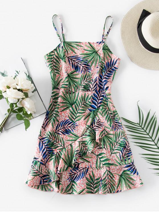 trendy ZAFUL Leaf Leopard Ruffle Cami Dress - MULTI-A S