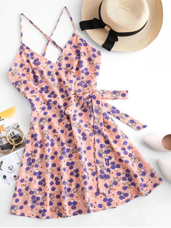 fancy ZAFUL Floral Print Criss Cross Wrap Dress - ORANGE PINK S