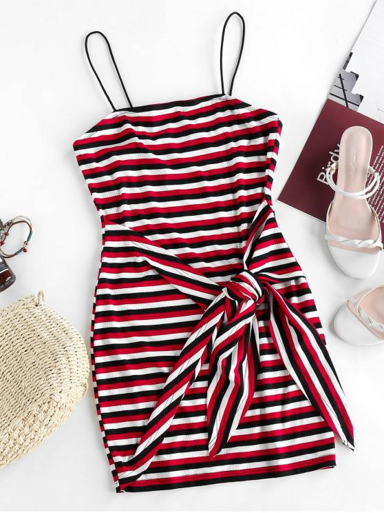 online ZAFUL Striped Ribbed Belted Bodycon Dress - MULTI-A M