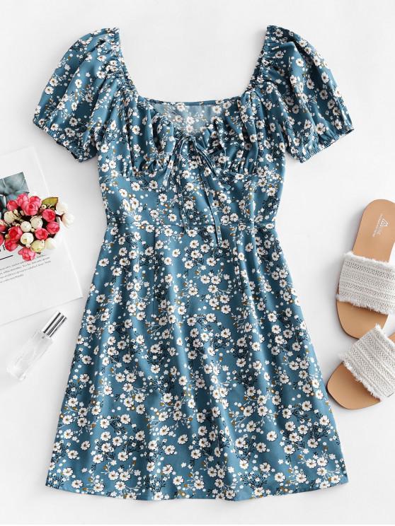 trendy ZAFUL Tie Collar Bustier Ditsy Floral Mini Dress - BLUE KOI L