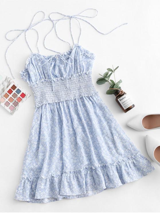 lady ZAFUL Tiny Floral Smocked Tie Shoulder Dress - LIGHT SKY BLUE L