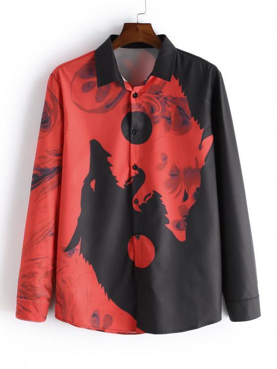 Wolf Print Button mâneci lungi Tricou - roșu 2XL