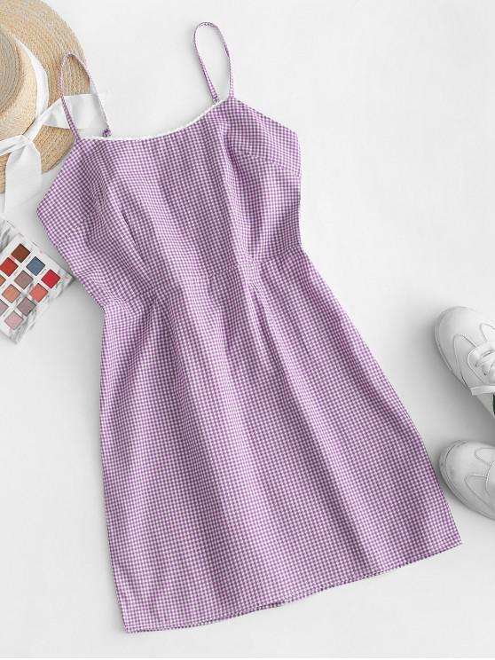 outfits Picot Trim Gingham Cami Dress - PURPLE L