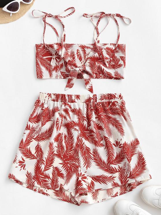 women's ZAFUL Leaf Print Tie Co Ord Set - MULTI-A S