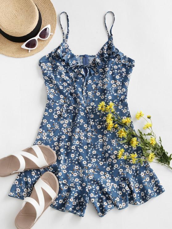 outfits ZAFUL Ditsy Print Ruffle Cami Romper - CORNFLOWER BLUE S