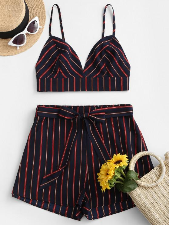 buy ZAFUL Striped Backless Belted Two Piece Suit - MIDNIGHT BLUE S