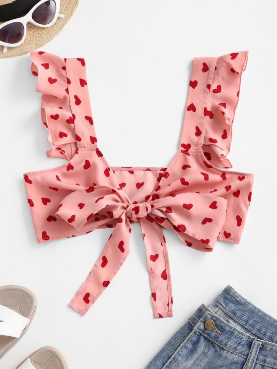 lady ZAFUL Heart Print Ruffle Tie Crop Top - PINK ROSE L