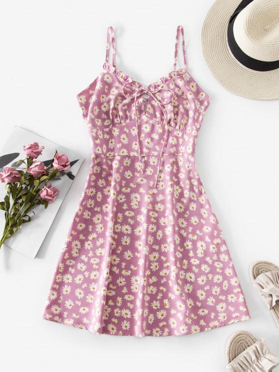 shops ZAFUL Flower Ruffle Keyhole Cupped Dress - MAUVE S