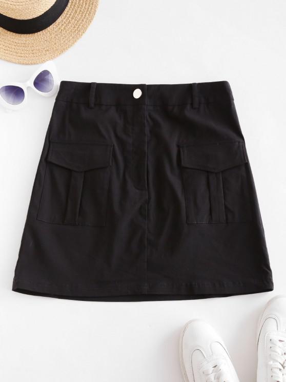 ZAFUL Mini Falda de Carga con Cremallera de Bolsillo - Negro S