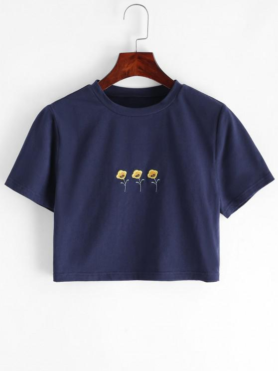 fancy ZAFUL Cropped Ditsy Floral Embroidered Tee - MIDNIGHT BLUE M