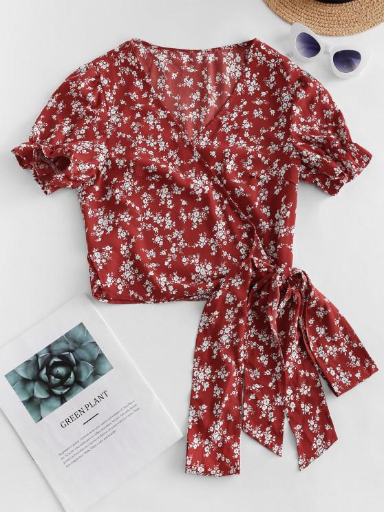 chic ZAFUL Ruffle Ditsy Floral Wrap Blouse - RED WINE L