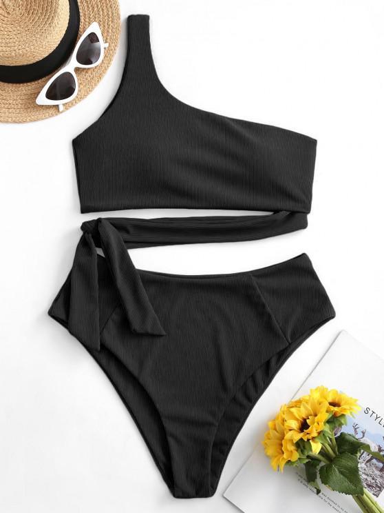trendy ZAFUL Knotted One Shoulder Solid Bikini Set - BLACK M