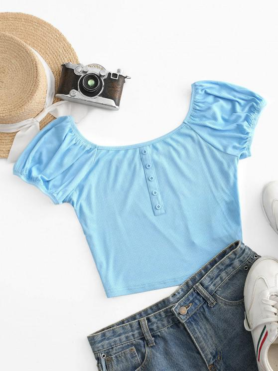 hot ZAFUL Mock Button Ribbed Cropped Tee - SKY BLUE S