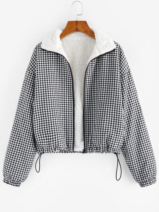 women ZAFUL Gingham Drop Shoulder Faux Fur Lining Coat - MULTI-A L