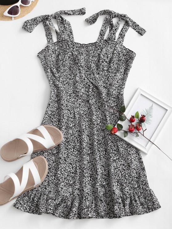 ladies ZAFUL Ruffle Tie Ditsy Print Dress - BLACK S