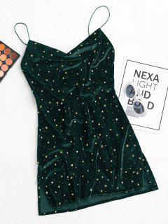 Stars Side Slit Cowl Front Velvet Dress - Green M